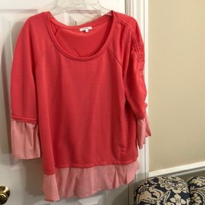 Peachy pink T-shirt with stripes by Maurice -XL
